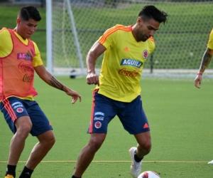 Falcao García durante un entrenamiento con la Selección.