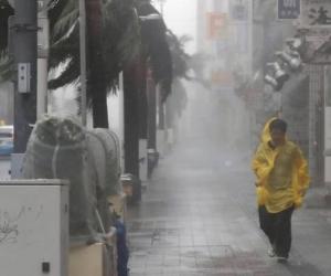 Un ciudadano japonés desafía los vientos del tifón Trami el sábado.