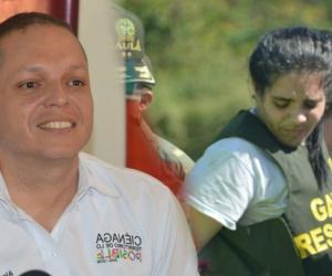 El alcalde de Ciénaga, Edgardo 'Nene' Pérez, y Melissa Martínez García.