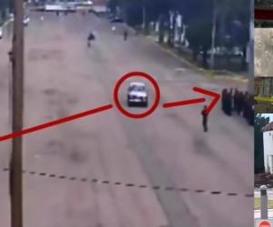 Imágenes muestran que el vehículo pasó entre dos pelotones sin ser detenido, antes de la explosión.