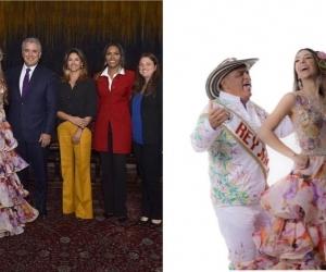El Presidente Duque recibiendo a los reyes del Carnaval