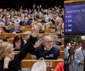 ista general de la votación celebrada en el pleno del Parlamento Europeo sobre la crisis en Venezuela, este jueves en Bruselas, Bélgica.