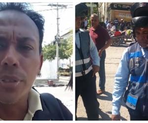 José Diazgranados (izq) denuncia que le inmovilizaron su moto pese a que estaba presente.