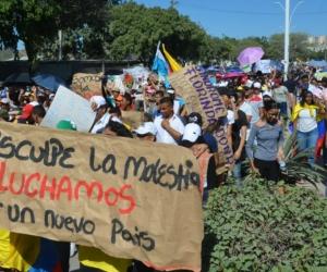 Marcha del 21N en Santa Marta.