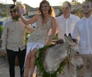 Así llegó Ana Laura a su boda en Taganga.