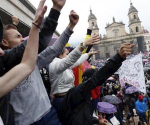 Imagen del paro en Colombia.