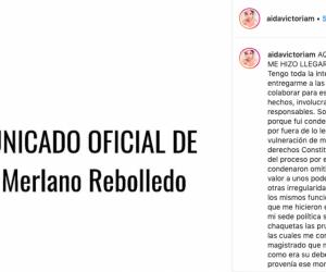Captura de la publicación de Aida Victoria en Instagram