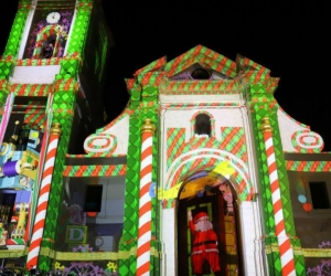 Catedral Basílica de Santa Marta Iluminada con el Maping navideño.