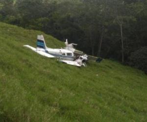 Así quedó la avioneta tras el accidente.