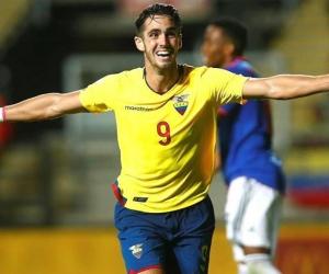 Leonardo Campana celebrando el gol ecuatoriano.