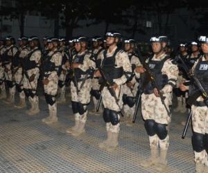 Unidades de Policía Militar que llegaron a la ciudad.
