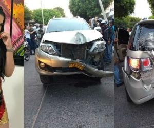La artista habría chocado con dos postes y luego contra otro automóvil.