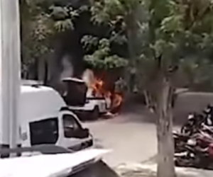 Patrulla se incendió en Barranquilla