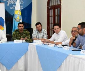 Consejo de seguridad presidido por el alcalde (e) Andrés Rugeles.