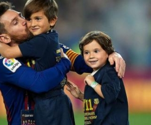 Messi y sus hijos.
