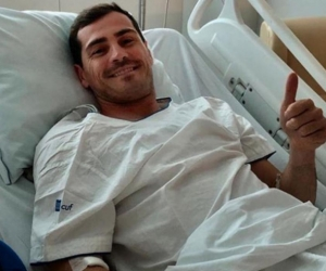 Iker Casillas en el Hospital tras sufrir un infarto.