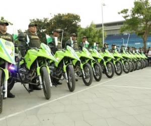 Motocicletas entregadas por la Alcaldía a la Policía.