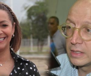 Ingrid Aguirre, gerente de la Essmar y el alcalde (e) Andrés Rugeles