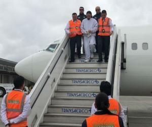 Murcia aterrizó cerca de las 11:00 a.m. en la ciudad de Bogotá.