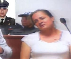 Gloria Aydé Huertas y el patrullero Iván Arturo Zorro