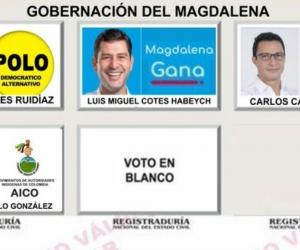 Así será el tarjetón de la Gobernación del Magdalena.