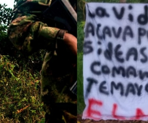 Foto panfleto encontrado en Yondó, Antioquia.