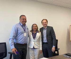 La alcaldesa de Sabanas de San Ángel, Evis Meza, se reunió con el director de la Uspec, Ricardo Varela; y director de Infraestructura, Gustavo Gallego.