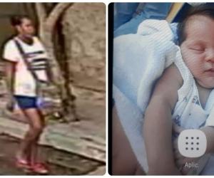 A la izquierda, la presunta captura (identificada por la mamá), a la derecha, el bebé secuestrado.