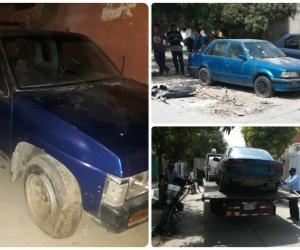 Estos son algunos carros abandonados en la ciudad de Santa Marta.