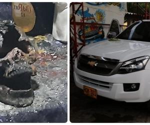 A la izquierda, una de las calaveras en un lugar usado para santería en Taganga. Esas mismas personas se habrían robado una camioneta.