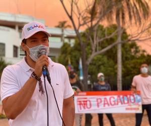 Estudiantes de la Unimagdalena protestaron ayer para presionar el giro de la matrícula cero.