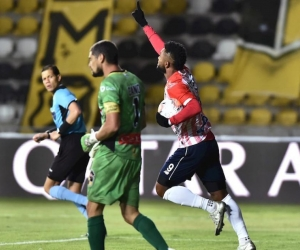 Miguel Ángel Borja celebrando el gol.