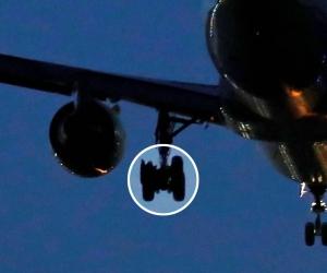 El avión sufrió en una de las llantas y en el motor.
