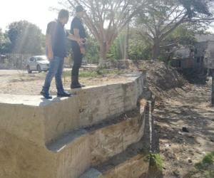 Muros de contención en la Quebrada Tamacá