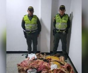 En controles de la Policía al transporte fueron decomisados 100 kilos de carne.