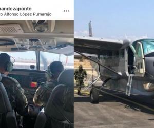 José Guillermo 'Ñeñe' Hernández en aeronaves del Ejército.