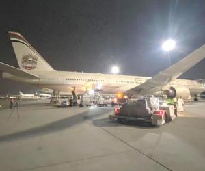 Avión con los insumos médicos donados por Emiratos Árabes.