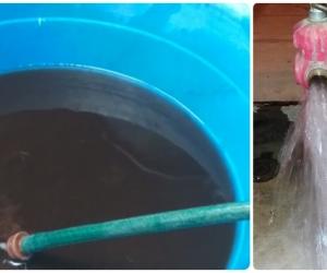 Cuando reconectaron el agua en Villa Marbella se puso oscura, pero una purga en el hidrante arregló el problema.