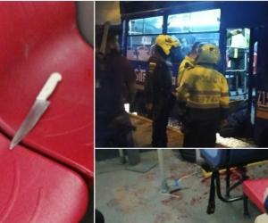 El cuerpo del hombre quedó tendido en las escaleras del bus.