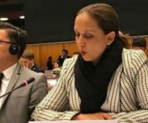 Embajadora de Colombia ante la ONU, Adriana del Rosario Mendoza Agudelo.