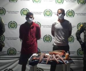 Hombres capturados en Santa Marta.