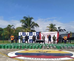 La Armada de Colombia logró la incautación de 2 mil 875 kilogramos de clorhidrato de cocaína.