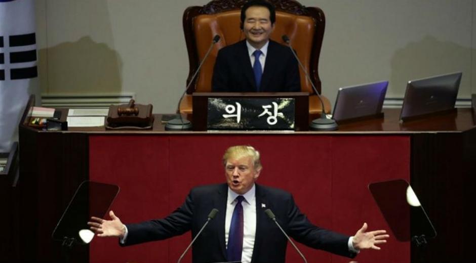 Donald Trump en su intervención ante el parlamento surcoreano.
