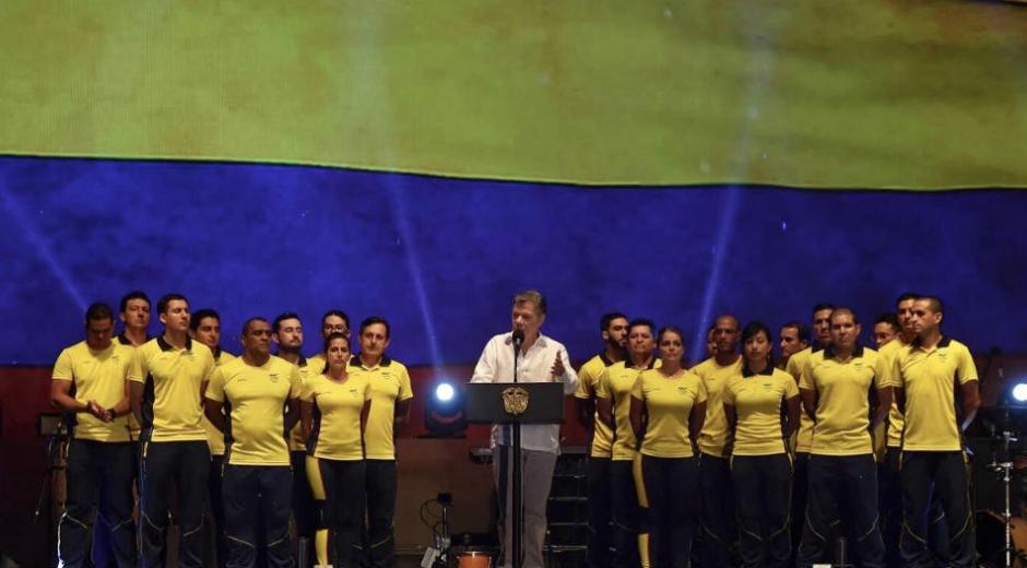 Juan Manuel Santos, presidente de Colombia, durante la clausura de Los Juegos.