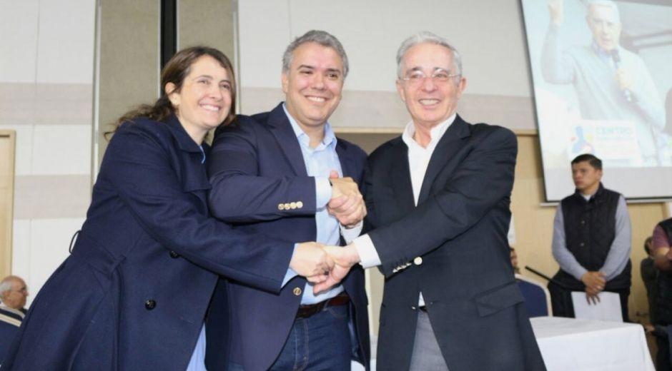 Paloma Valencia, Iván Duque y Álvaro Uribe Vélez.