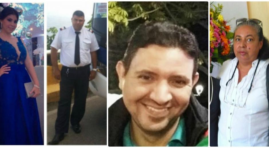 Las víctimas, de izq a der: Karla Solano, Jorge López, Héctor Rizo y María del Carmen Céspedes.