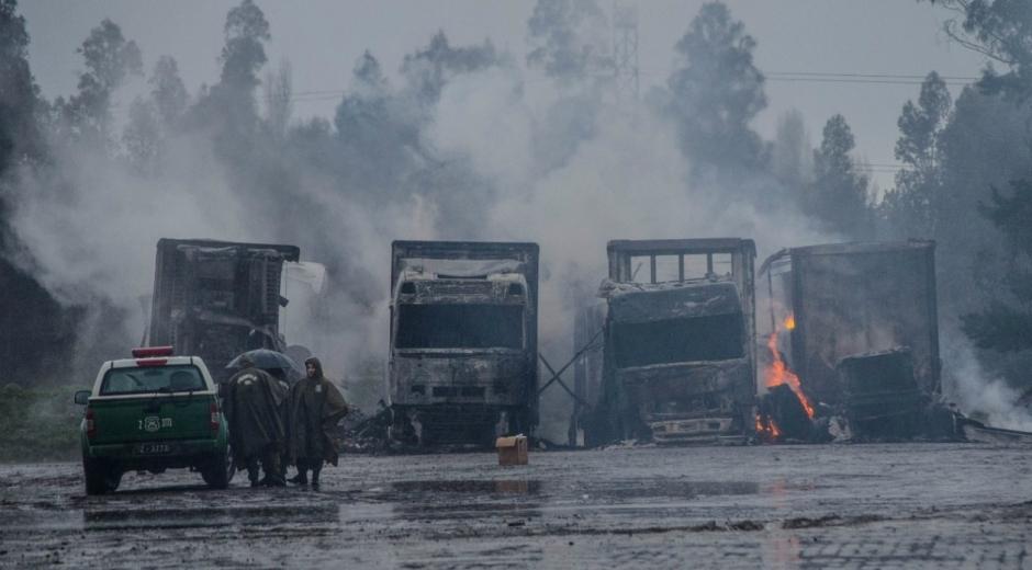 13 de los 18 camiones quemados fueron declarados en pérdida total.