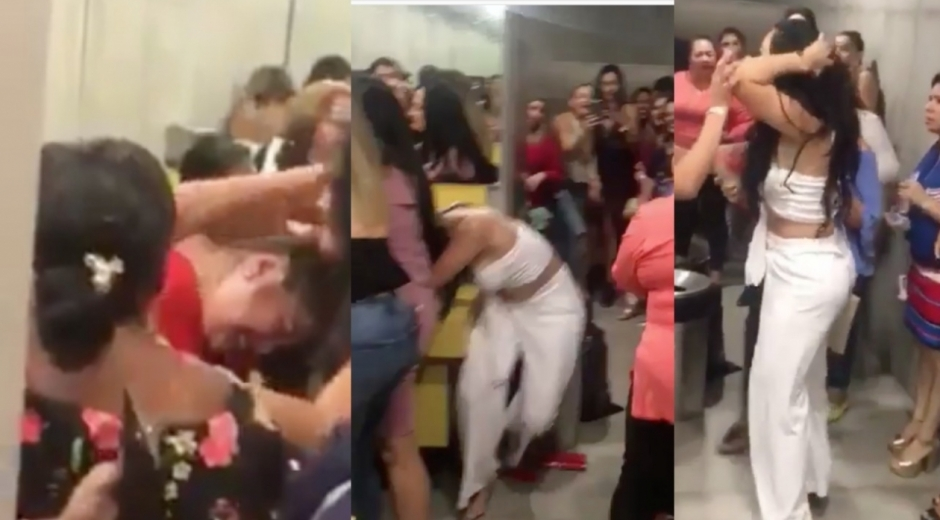 Imágenes de la pelea en el baño de damas durante el concierto de Ana Gabriel.