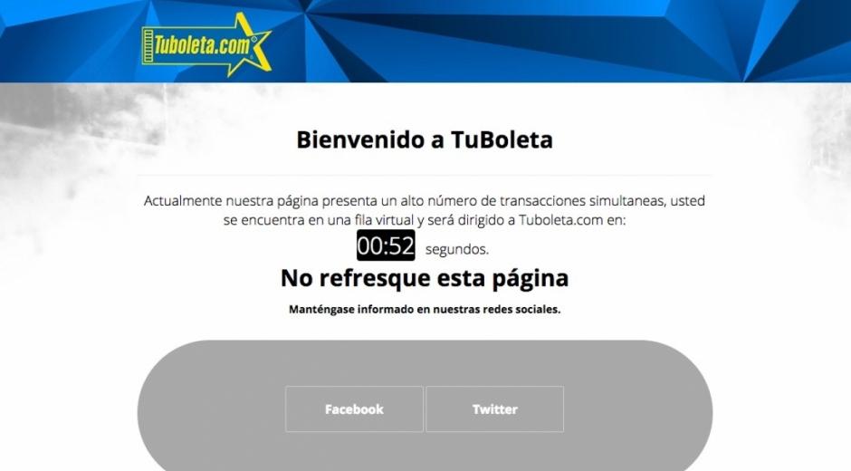 Este es el mensaje que aparece en la página de Tuboleta.com.