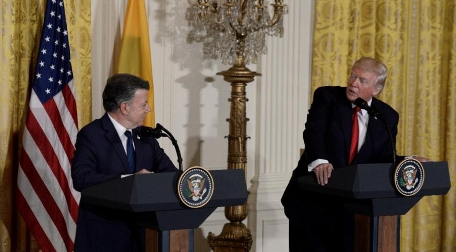 Juan Manuel Santos y Donald Trump.